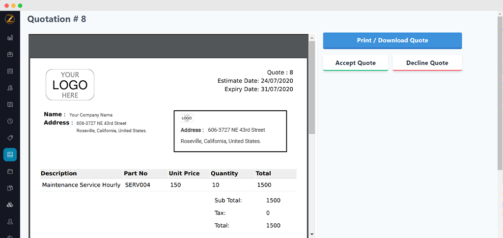 Share estimates with customers