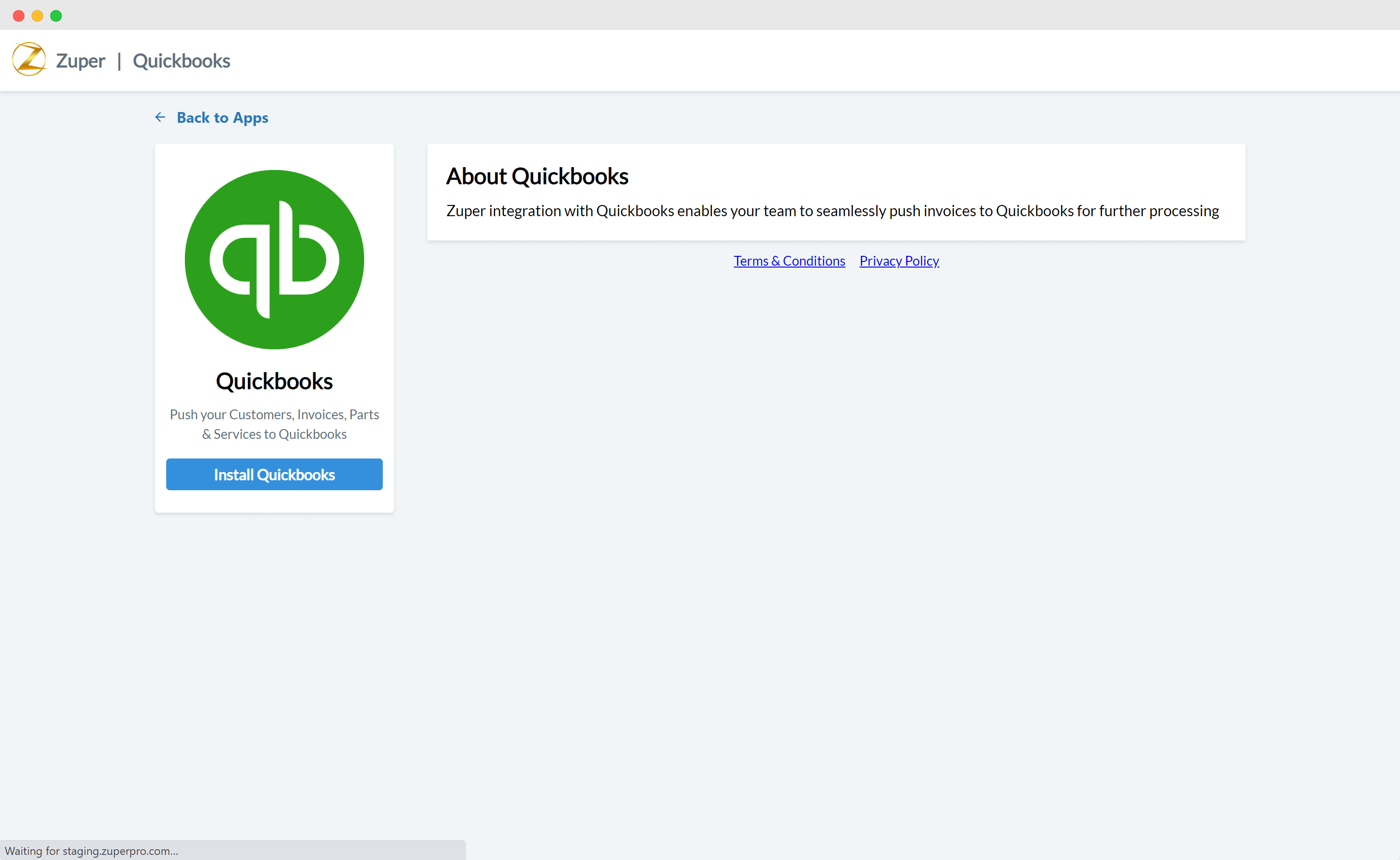 QuickBooks integration out-of-the-box