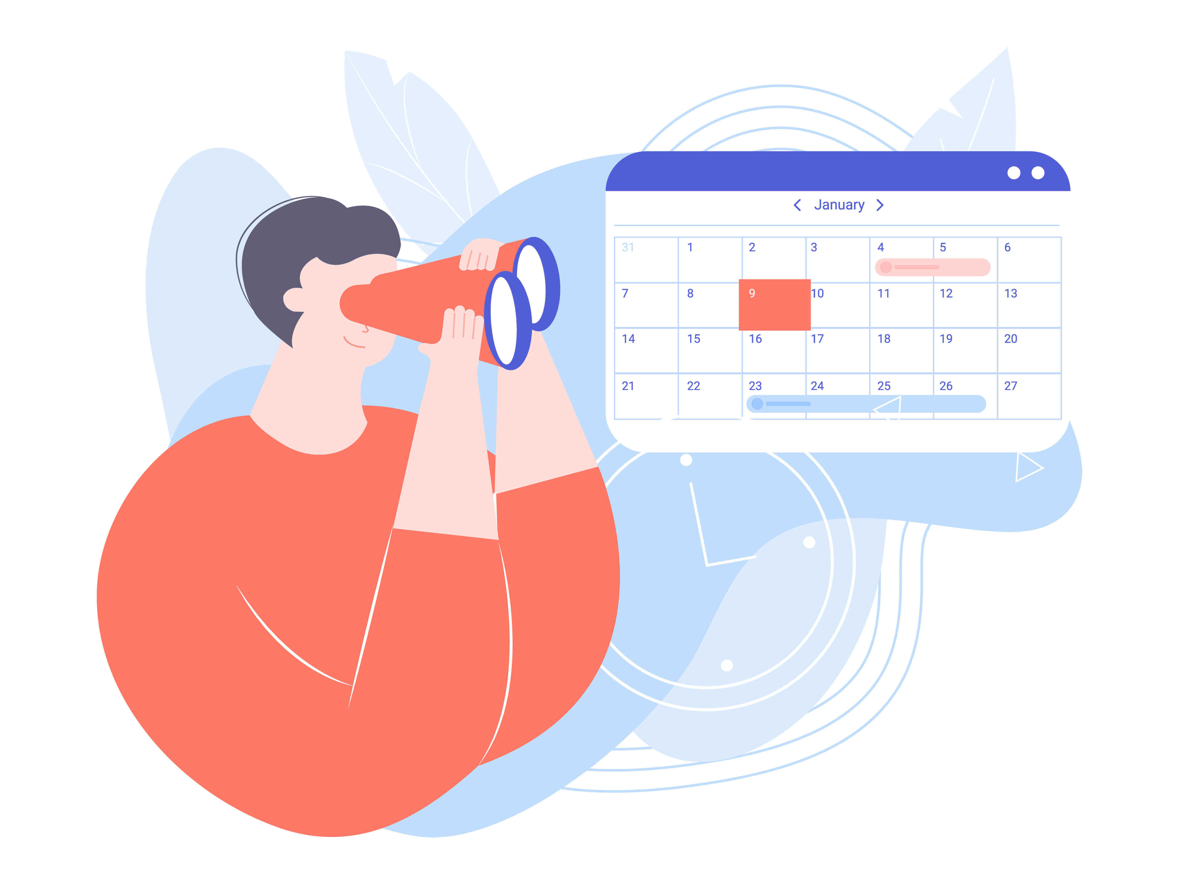 A person with binoculars looking at a calendar. The image tells us to be in the lookout for available schedules.