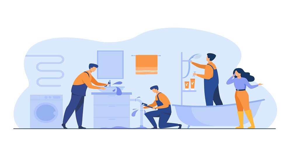 Plumber repairing pipe burst. Woman phoning for service to stop house flooding. Vector illustration for plumbing, domestic problem, help, accident concept